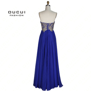 Image 2 - Real Photos Long Evening Dress Strapless A Line Chiffon Embroidery Floor Length OL102993