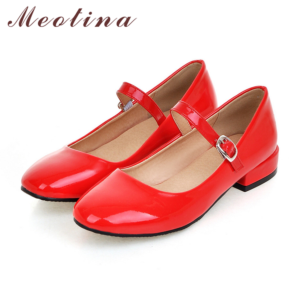 Meotina Flat Shoes Women Mary Jane Ladies Shoes Flats Fall Buckle School  Shoes Ballerina Flats Footwear Black Big Size 9 10 43-in Women s Flats from  Shoes ...