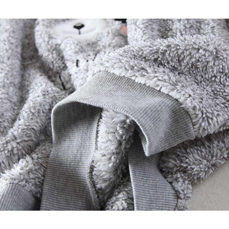 2018 סתיו וחורף עבה חם נשים פיג סטי חליפת קטיפה אלמוגי פלנל ארוך שרוול נשי קריקטורה דוב בעלי החיים הלבשת