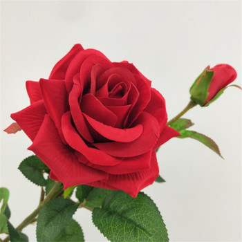 100pcs Artificial Red Rose Stems Fake 60cm Rose Green Leaf & Rose Bud for Bridal Bouquet Wedding centerpieces Table Decoration rose