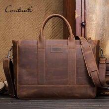 69c5e8b82eae CONTACT'S 2019 crazy horse корова мужская кожаная сумка винтажная сумка  мужской большой Повседневная эко-сумка