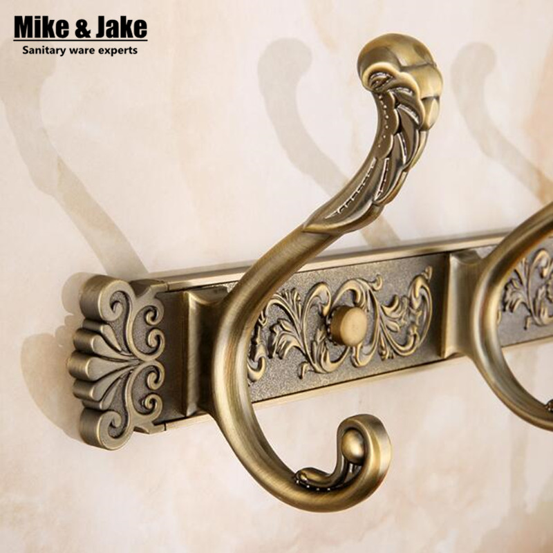 Free Shipping Bathroom wall Carving Antique robe hooks 4-6 Row Hook coat hanger door hooks for bathroom accessories MJ3600 цена 2017