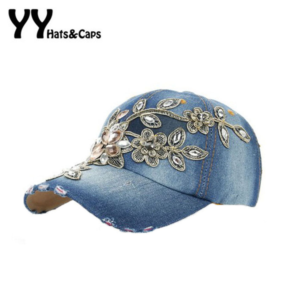 2016 Spring New Shiny Fashion Women Diamond Flower Baseball Cap Lady Rhinestone Jean Hats Summer Style Sunhats YY6020 new arrival women turban hats flower dome hat head wrap chemo hats bandana hijab knotted indian cap