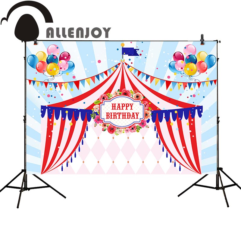 Allenjoy photography studio funds circus birthday balloons stripes flower party background photocall professional allenjoy photography backdrops circus backdrop balloons for children birthday party for a photo shoot photography background