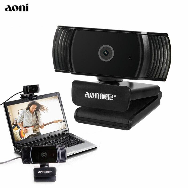 Aoni Webcam HD 1080 p 30FPS Mise Au Point Automatique Ordinateur Web Cam USB Caméra Avec D'absorption Acoustique MIC Pour PC Ordinateur Portable smart TV A20