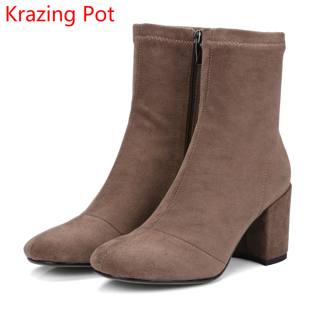 2018 New Arrival Superstar Stretch Thick Heel Square Toe Zipper Fashion Chelsea Boots Winter Handmade Concise Mid-Calf Boots L17 new fashion superstar brand winter shoes embroidery snow boots tassel women mid calf boots thick heel causal motorcycles boots