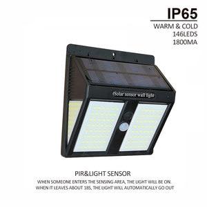 Image 3 - 146 נוריות חיצוני led שמש גן אור עמיד למים IP65 תחושה אור אינפרא אדום חיישני מנורת חיצוני גדר גינה מסלול קיר אור