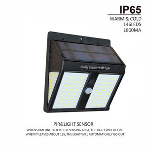 Image 3 - 146leds Outdoor led solar garden light waterproof IP65 sense light Infrared sensors lamp outdoor fence garden pathway wall light