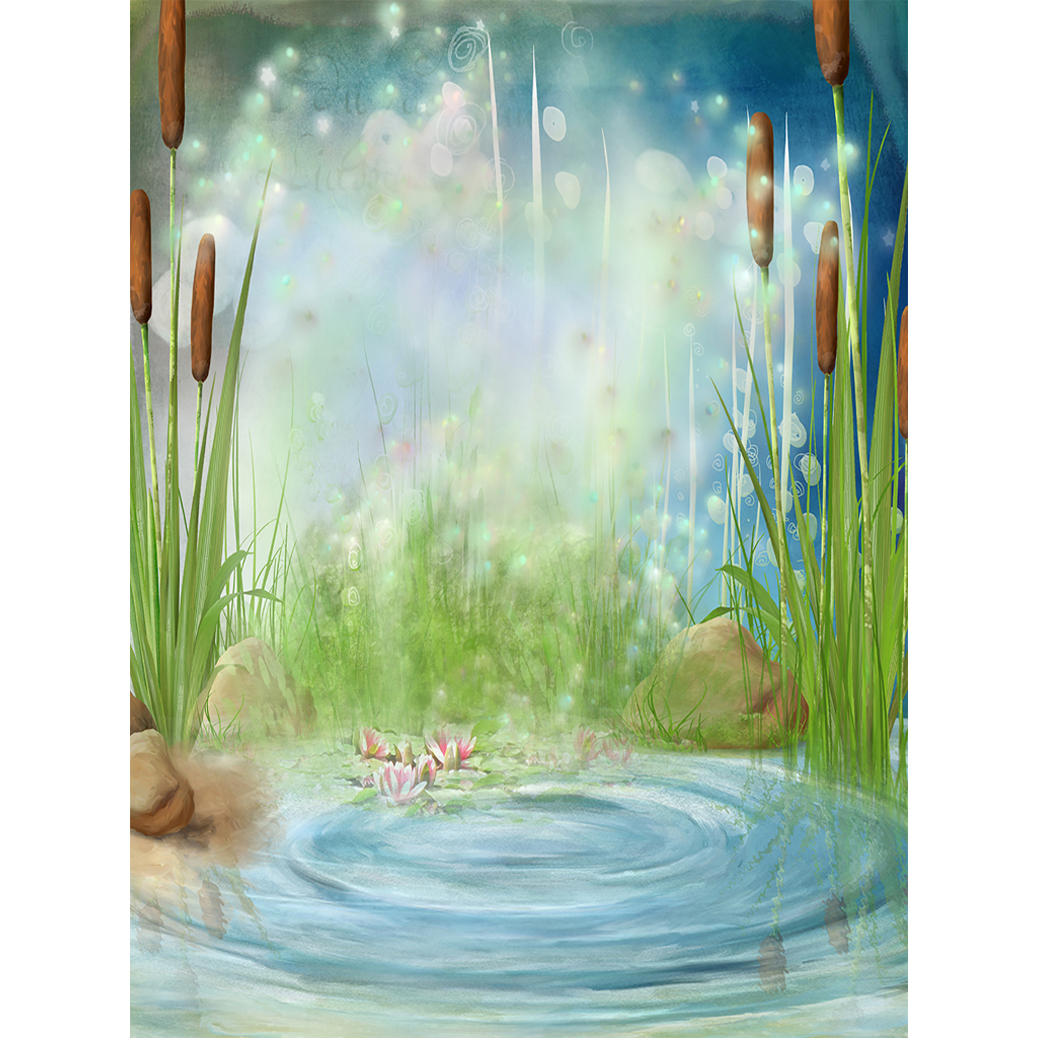 US $9 58 31% OFF|Allenjoy Photography Backdrop pond bulrush firefly  wonderland flower baby Photophone background photocall photo booth  studio-in