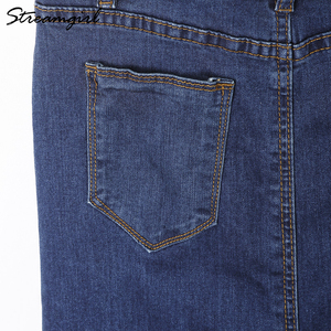 Image 5 - Streamgirl Long Denim Skirt With Straps Women Button Jeans Skirts Plus Size Long High Waist Pencil Skirt Denim Skirts Womens