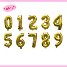 16inch Foil Letter Number Balloons gold Helium Ballon Birthday party decorations kids adult boy girl 1st birthday Accessories(China)
