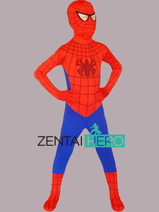 Free Shipping DHL Cheap Children Halloween Full Body Red And Blue Lycra Spandex Spiderman Zentai Cosplay Kid Halloween Costume