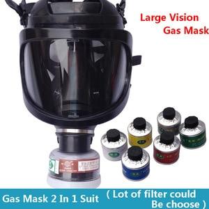 Image 2 - חדש ריסוס Respirator גדול ראיית מלא פנים גז מסכת תעשיית בטיחות עבודה מקצועית הגנת הנשמה מסיכת גז