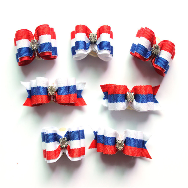 50pcs/lot Day Pet Dog Hair Bows  White Blue Ribbon Bow Dimond For 4th July Dog Hair Accessories Grooming Products