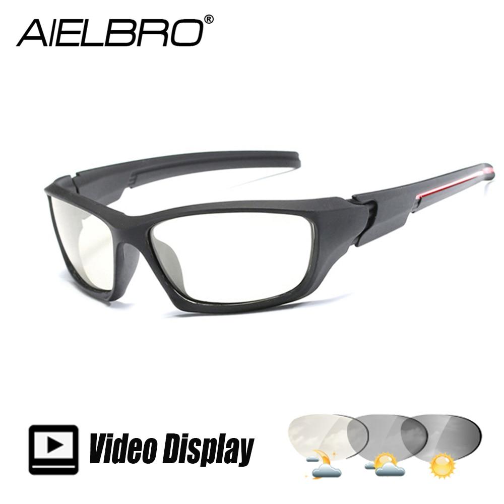 Photochromic Polarized Sunglasses Men Cycling Chameleon Discoloration Sun Glasses For Men Polaroid Matte Black Square Eyewear