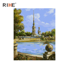 RIHE Holy Tower Diy Painting By Numbers Abstract River Oil Painting On Canvas Cuadros Decoracion Acrylic Wall Picture For Room rihe river house diy painting by numbers abstract garden oil painting on canvas cuadros decoracion acrylic wall picture for room