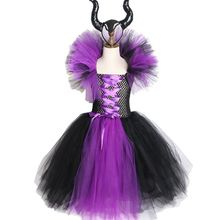 все цены на Girls Tutu Dress for Girls Kids Children Maleficent Evil Queen Halloween Dress Cosplay Witch Costumes Fancy Girl Party Dress онлайн