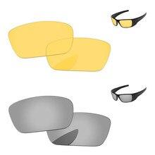 Серебристый Хром и кристалл желтый 2 пары Замена оптические стёкла для топливных элементов солнцезащитные очки женщин рамки UVA и UVB