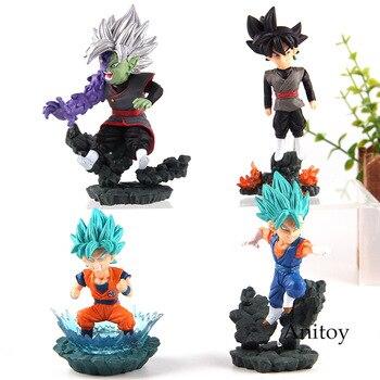 "Dragon Ball Super Saiyan Son Goku Vegetto azul Zamasu ""Goku negro figura Comité coleccionable mundial Diorama juguetes de PVC 4 unids/set"