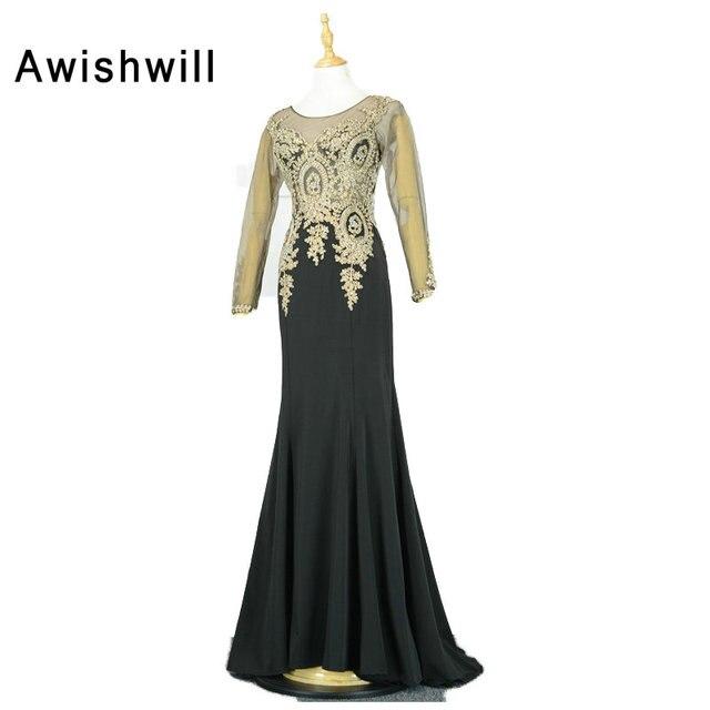 2019 New Fashion Lace Appliques Chiffon Wedding Party Formal Long Sleeve Mermaid  Evening Dresses Dubai Robe De Soiree Longues 4aeeda0f53ac