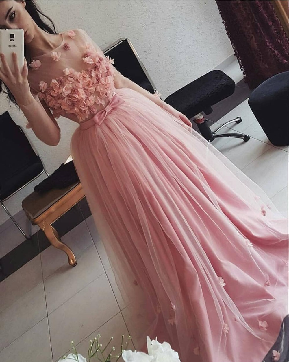 Gorgeous Pink Long Sleeves   Prom     Dress   3d Flowers Floor Length Illusion Women Evening   Dresses   Custom Princess Special Event Gowns