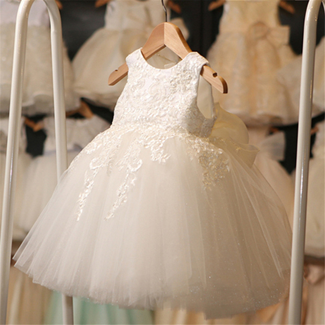 High Quality White First Communion Dresses For Girl Tulle Lace Infant Toddler Pageant Flower Girl Dress for Wedding and Birthday