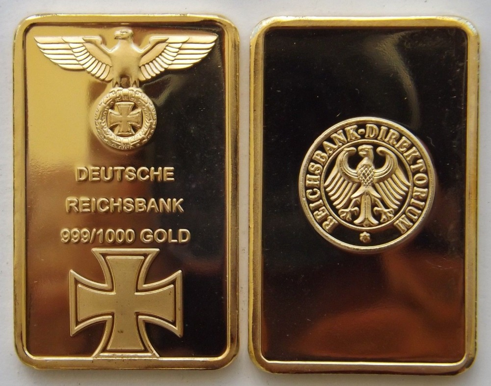 DEUTSCHE REICHSBANK 1 Ounce GOLD PLATED BAR GERMAN IRON ...