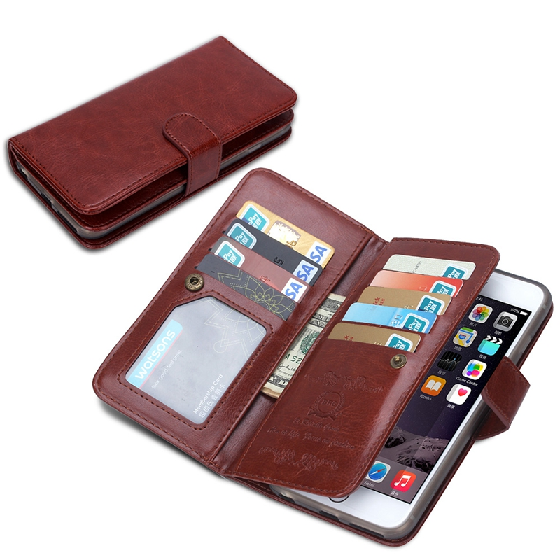 Convenient Mutil-Function Wallet Case For iPhone 6 6S Plus Leather Cover Unique 9 Card Slot Clear Photo Holder Flip Case Brown