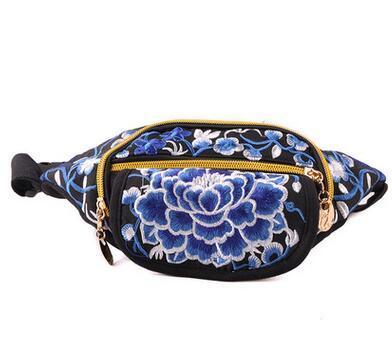 Nueva Hot Vintage Bolsas Nacional! de Alta Calidad de bordado Étnico bordado bolsa de lona paquetes de la cintura del brazo bolso Del Teléfono portátil de viaje