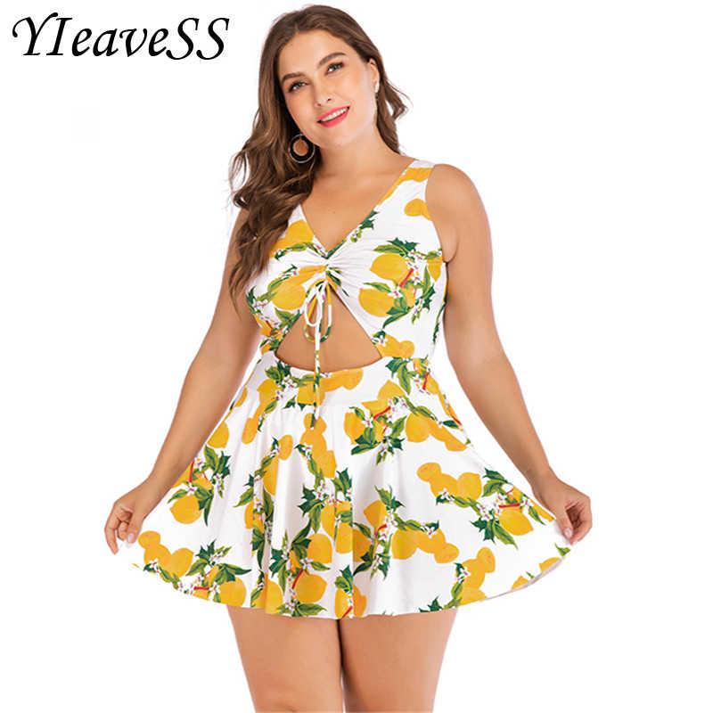 2019 Sexy Plus Ukuran Baju Renang Ukuran Besar Wanita Push Up Baju Renang Gaun Rok 4XL 5XL Seksi Berenang Gaun Satu Potong baju Renang untuk Wanita