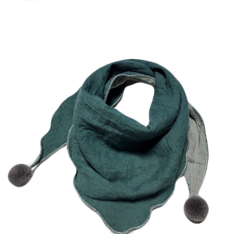 Весенние клетчатые треугольные шарфы в горошек для маленьких девочек; осенне-зимняя шаль для мальчиков и девочек; Детские хлопковые воротники; теплый детский шейный платок - Цвет: lake blue