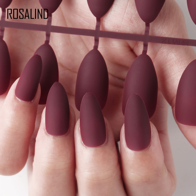 ROSALIND fake press on clear <font><b>nails</b></font> tips display for <font><b>nail</b></font> extensions Full Cover Matte Artificial <font><b>false</b></font> <font><b>nail</b></font> art <font><b>with</b></font> <font><b>designs</b></font> image