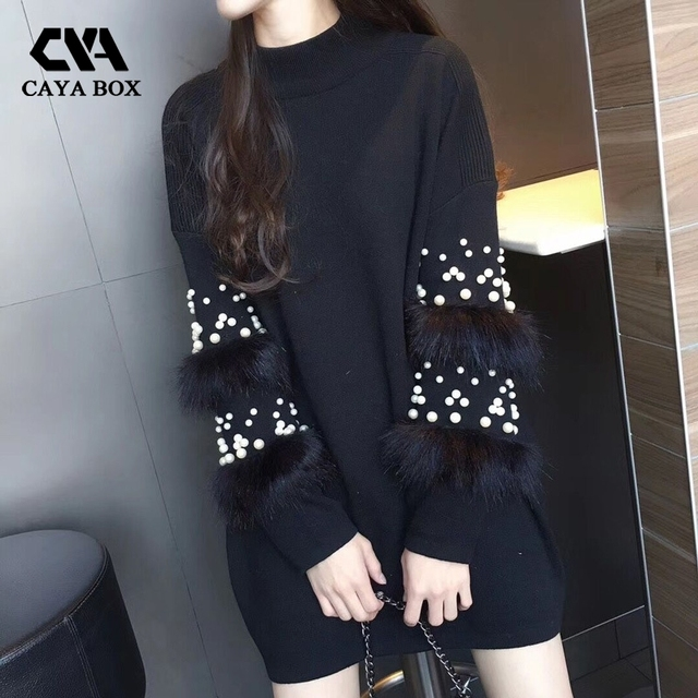 2018 Autumn Pearl Beads Fur jumper Knitted Dress Loose Pink Long Sleeve Women Sweater Patchwork Vestdios Women Clothings