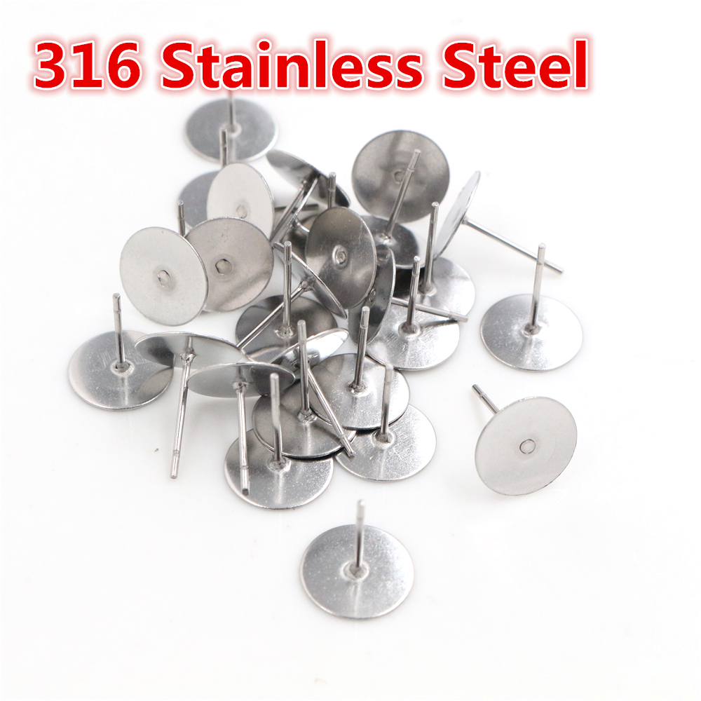 No Fade 100pcs/lot Stainless Steel Blank Earring Stud Fit 6 8 10mm Cameo Settings DIY Jewelry Making Accessories Supplies