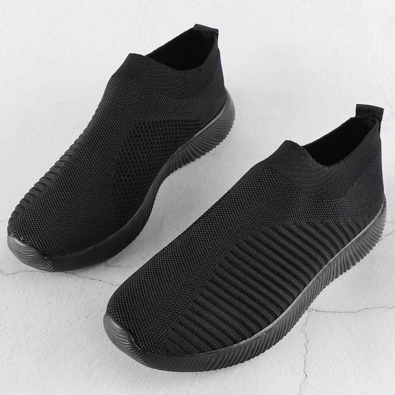 Zapatillas de deporte tejidas vulcanizadas zapatos de calcetín deslizantes Zapatillas de malla de aire Zapatillas de deporte Balck zapatos bajos Zapatillas Mujer
