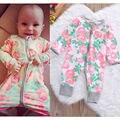 0-18 M Recién Nacido los Bebés Mameluco Ropa Flor Color de Rosa Bonito Bebes Body Playsuit Manga Larga Con Cremallera Niño Ropa de los cabritos