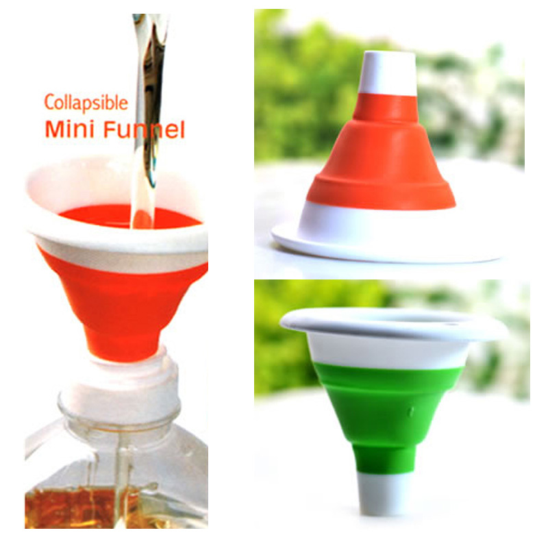 Kitchen Tool Silicone Collapsible Style Mini Foldable Folding Portable Funnel Hot Sale