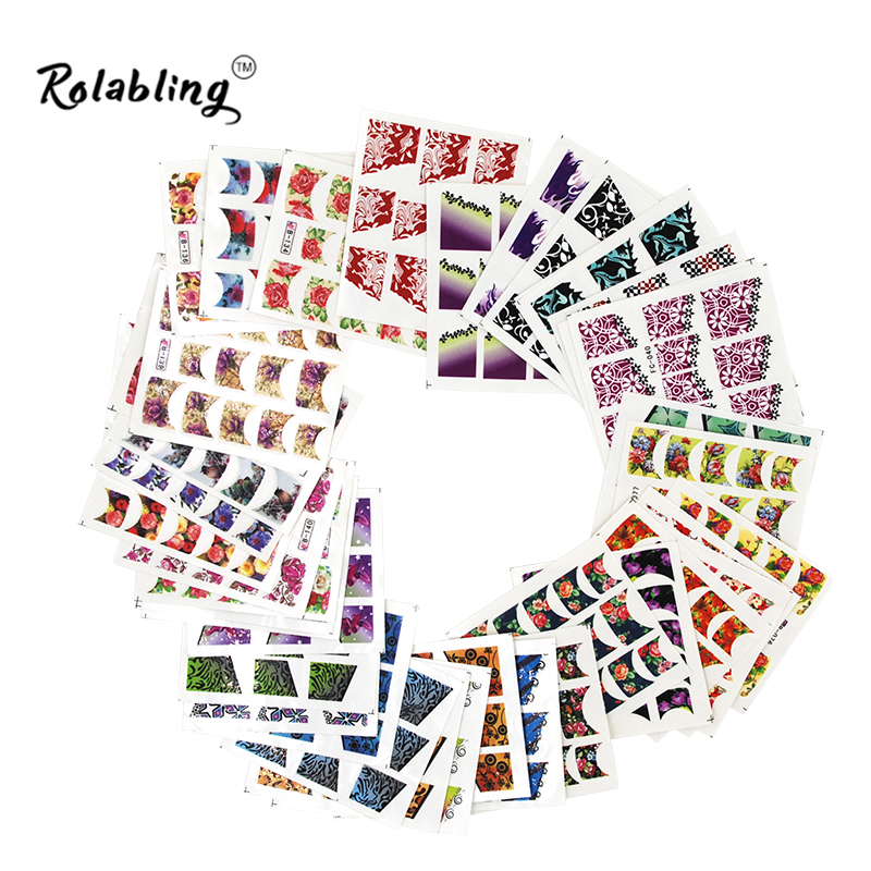 New Fashion Mixed French Design 50pcs/pack Water Transfer Nail Sticker Decal Sticker Decorations Manicure Tools mixed ring pack 10pcs