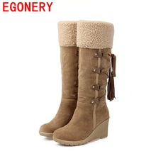 2017 hot sale botas femininas women winter boots 7cm high heels knee high boots lady shoes black beige yellow snow boots egonery