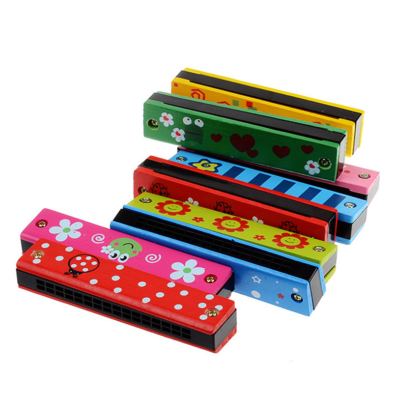 Wood Plastic Harmonica Fun Double Row 16 Holes Musical Toy Harmonica Kids Early Educational Music Learning Toy Random Color