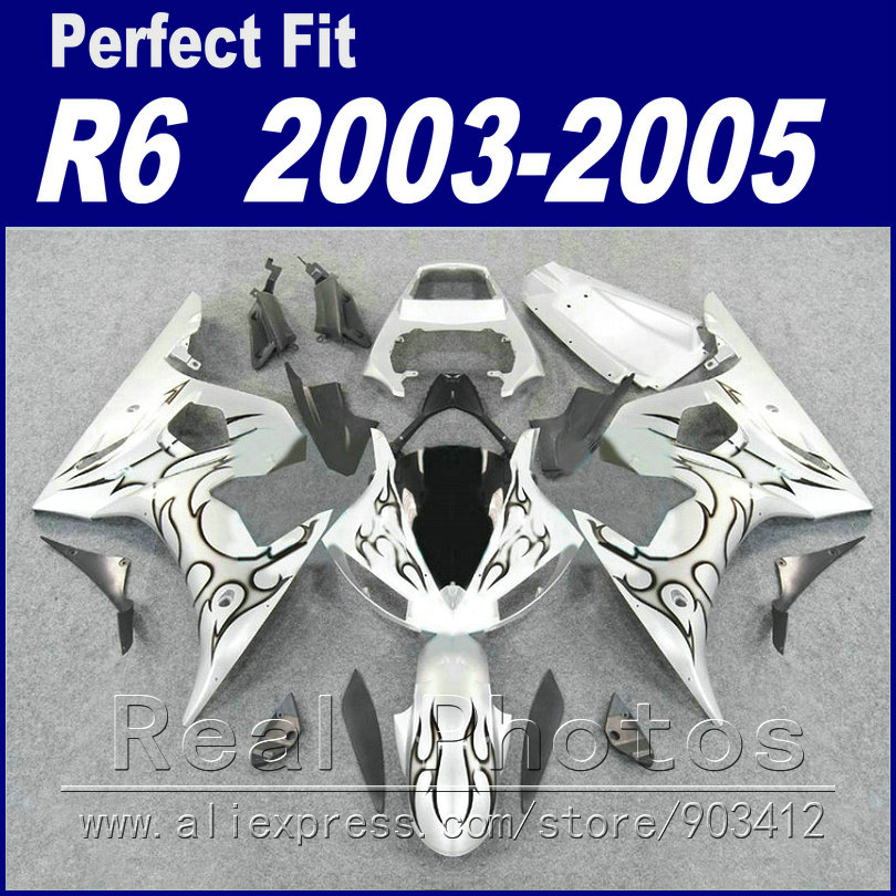 Livraison moto custom pièces pour YAMAHA R6 carénage kit 2003 2004 2005 gris flamme en blanc Fit YZF R6 carénages 03 04 05