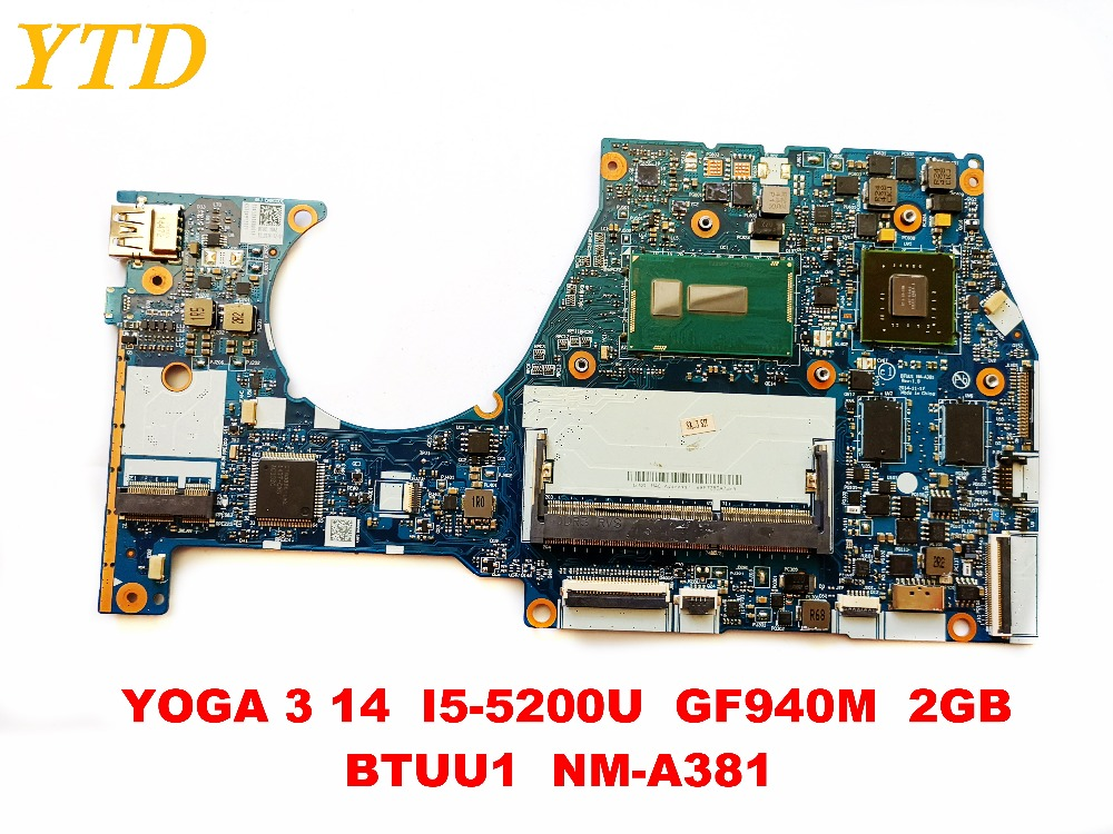 Original for LENOVO YOGA 3 14 laptop motherboard YOGA 3 14 I5-5200U GF940M 2GB BTUU1 <font><b>NM</b></font>-<font><b>A381</b></font> tested good free shipping image