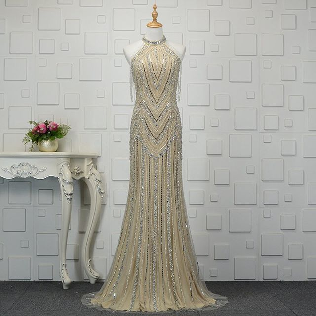 New Fantastic Long   Evening     Dress   2019 High Neck Off the Shoulder Floor Length Mermaid Beading Tulle Formal   Dresses   Gowns