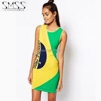 SMS-ÓW NOWY 2014 Europejska i Amerykańska żółto-zielony vestidos O-neck Brazylijskiej flagi druku kamizelki seksowna sukienka darmowa wysyłka