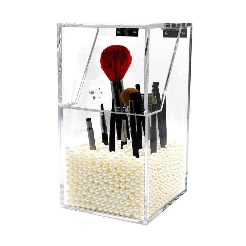 100% brand new and high quality Acrylic Material 1*Makeup Brush Holder Dustproof Storage Box 5mm Thick Acrylic Makeup Organizer