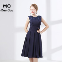 2017 Navy Blue Homecoming Dress Short Cocktail Party Dress With Lace Beaded Sleeveless Party Dress Short