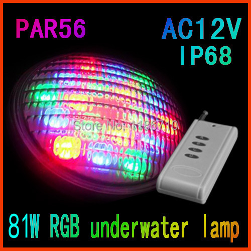 Factory Direct Sale 12V LED Swimming Pool Light Underwater Lights PAR56 (27*2.5W)RGB,Contains The Remote Control Free Shipping