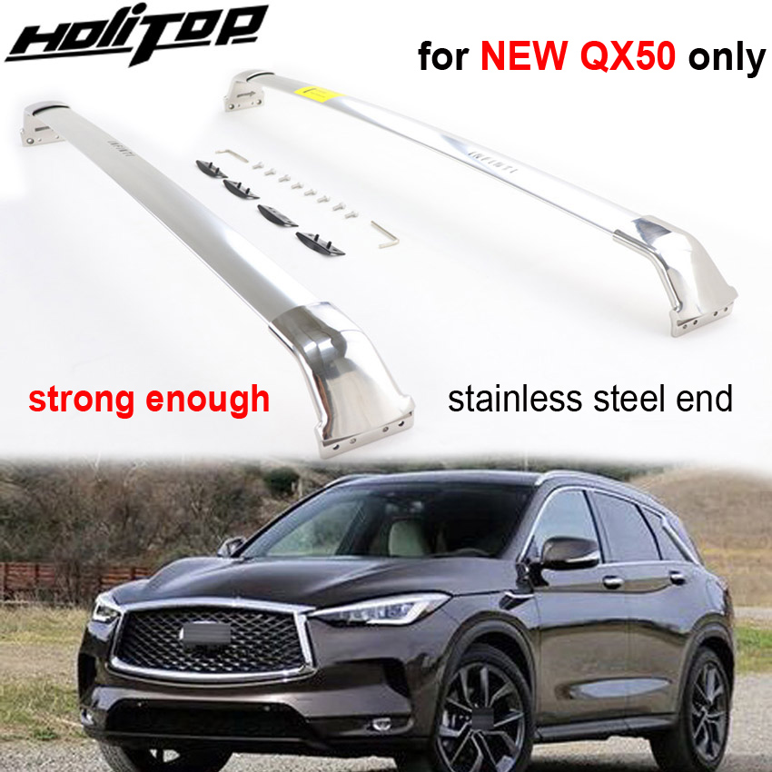 Real Luxurious strong roof rack cross bar horizontal rail for Infiniti QX50 2018 2019 40 stainless