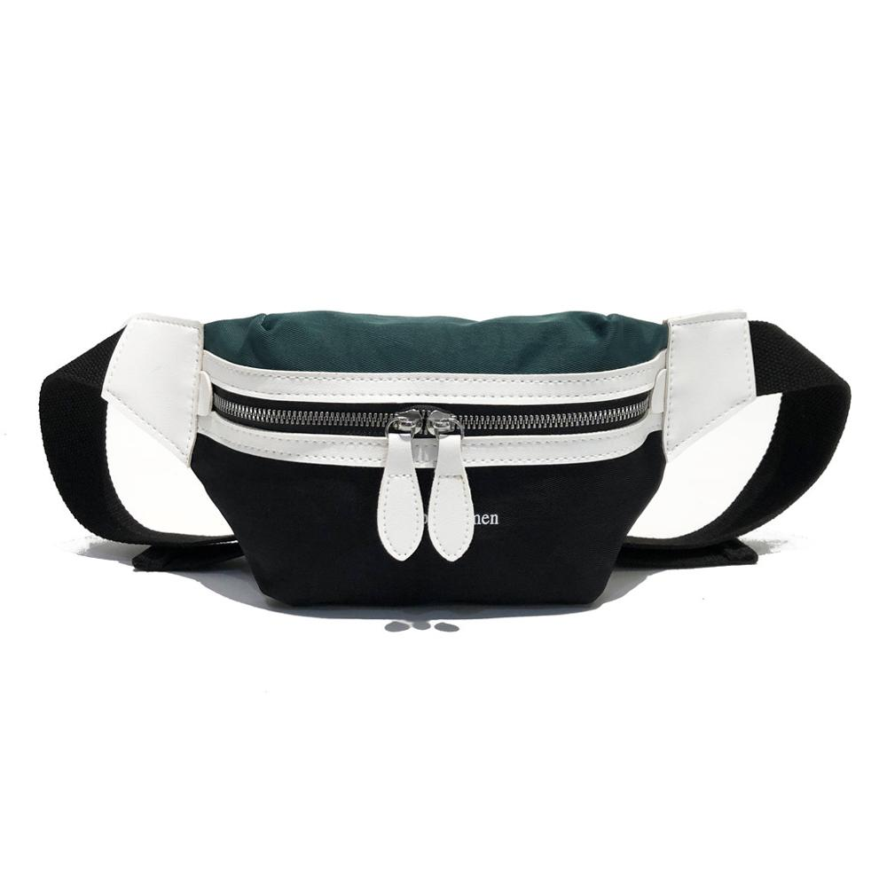Fashion Canvas Fanny Pack Banana Waist Bag New Brand Belt Bag Women Waist Pack Contrast Color Chest Bag Phone Pouch Belly Bag