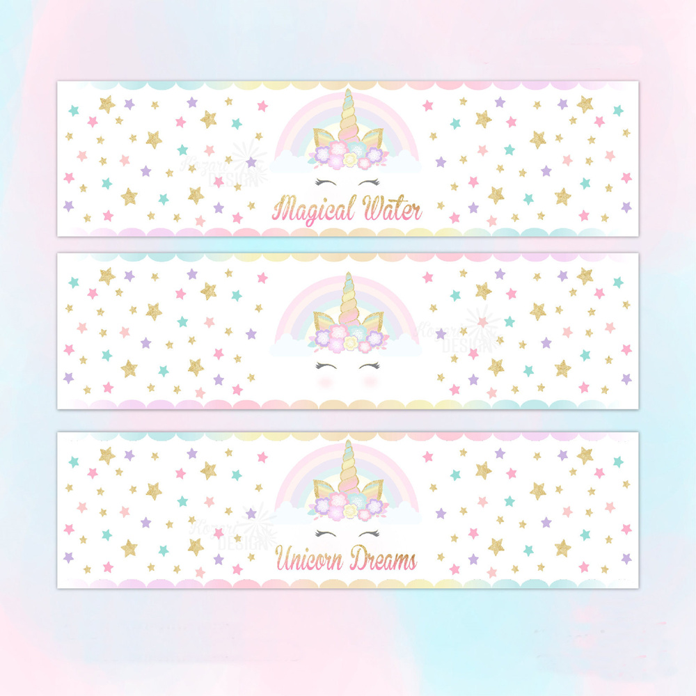 customized personalized unicorn water bottle labels